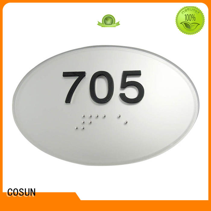COSUN stainless steel custom metal door signs manufacturers for decoration