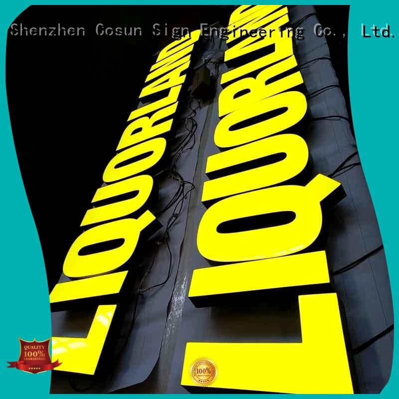 COSUN coming resin letters for signs top brand for hotel