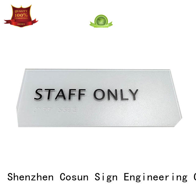 COSUN factory stainless steel door sign stainless shop