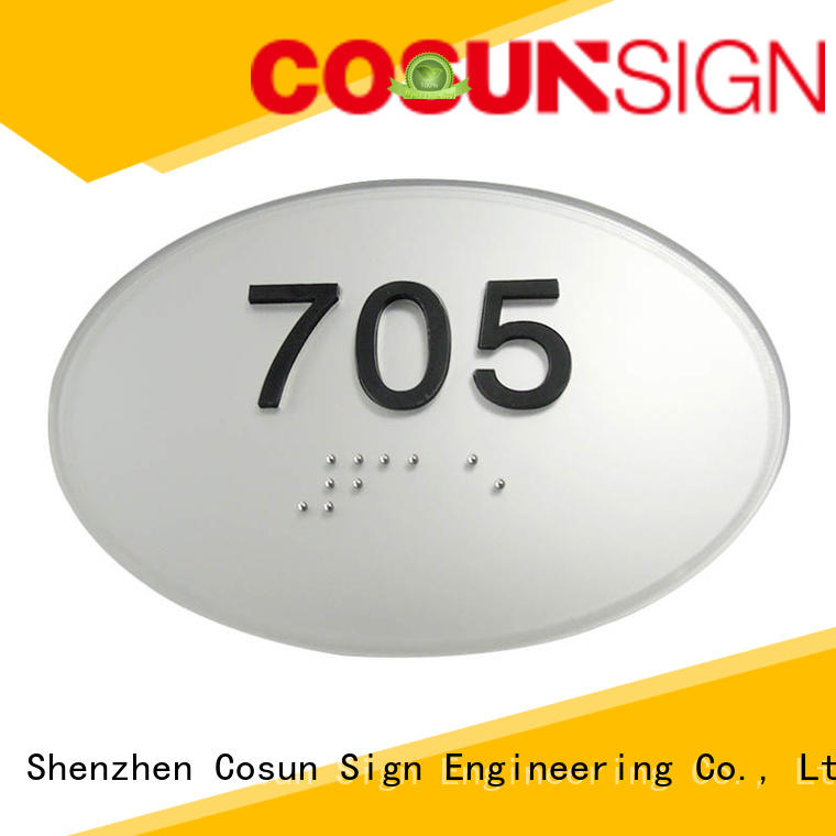 Cosun Acrylic Hotel Door Sign With Braille