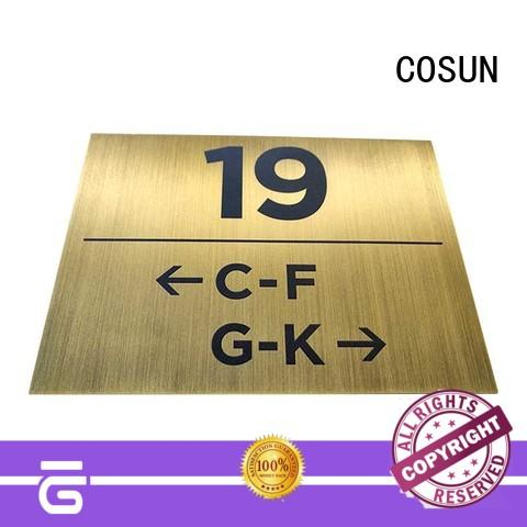 brass door sign painted for warning COSUN