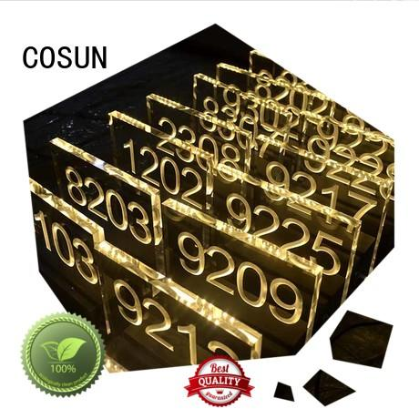 Cosun All Size Acrylic Illuminated Number Plate