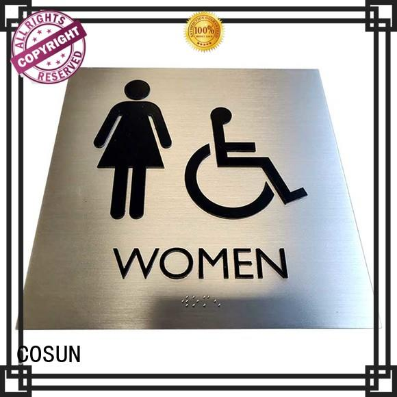 COSUN cnc aluminum engraved plastic door signs manufacturers for warning