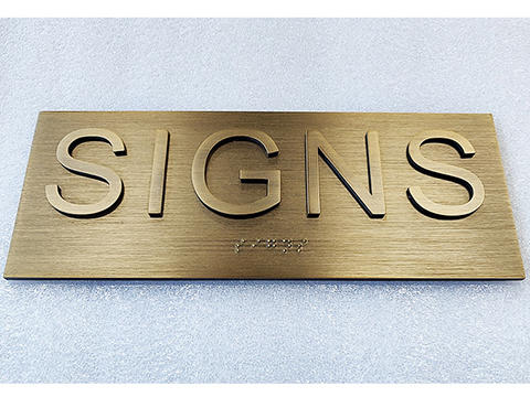 Modern custom house name signs with braille