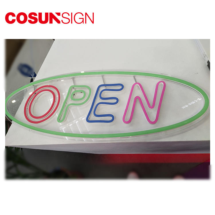 Neon Sign Open Cosun Iso Certificate Cnc Engrave Illuminated 3D