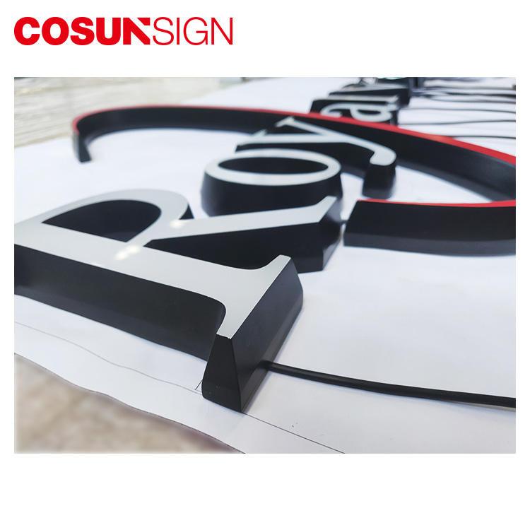 Acrylic Letter Sign Board Cosun 100% Achieve Customized Shape Led