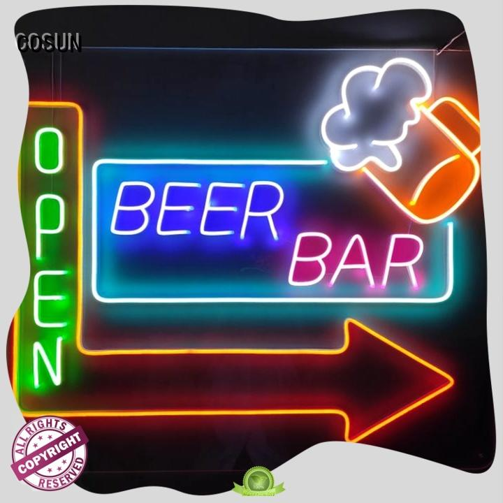 COSUN Custom neon light wall sign company for hotel