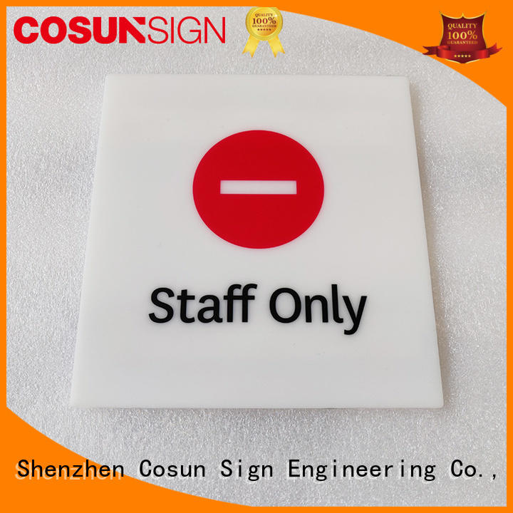 COSUN stainless steel gaming door sign Supply for warning