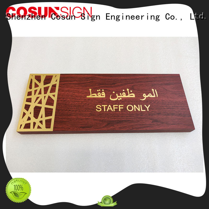 COSUN Wholesale engraved brass door signs Suppliers for wholesale