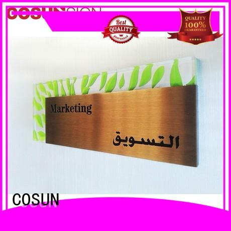 COSUN etched staples door signs company for hotel