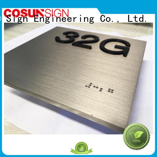 COSUN brass house number plaque for door