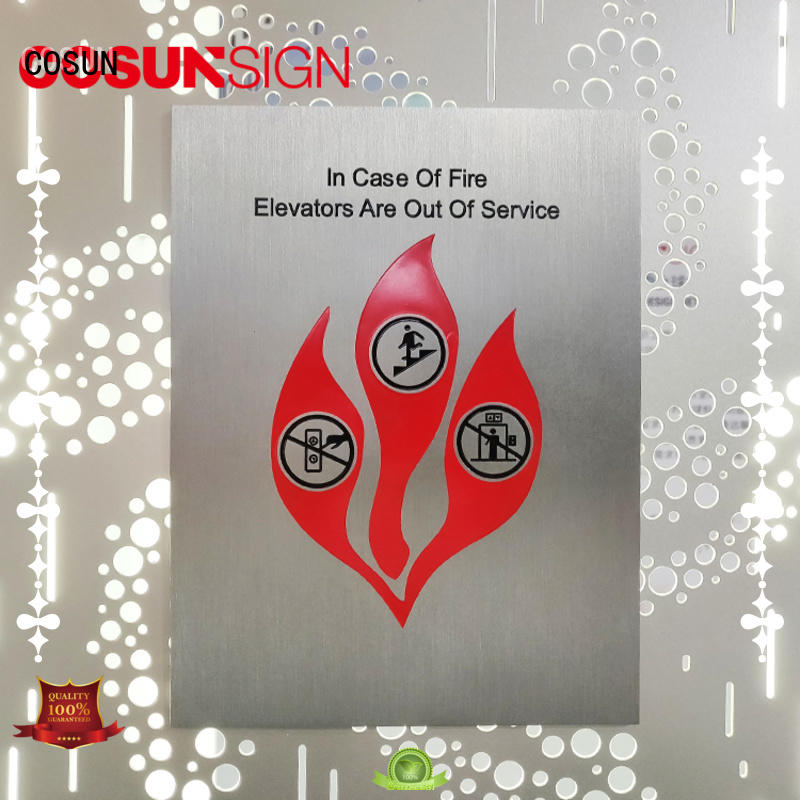 cnc aluminum hotel door signage safety sign for shop COSUN