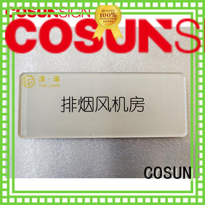 COSUN logo custom glass door name plates Suppliers for hotel