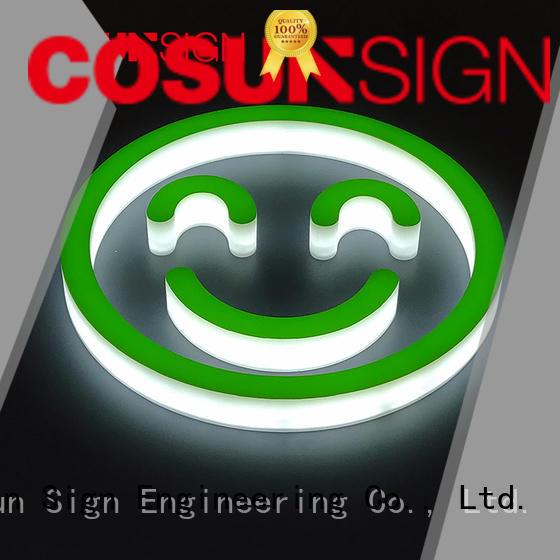 COSUN led base acrylic logo display new for restaurant