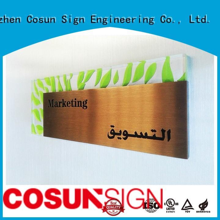 COSUN customized logo custom metal door signs for shop