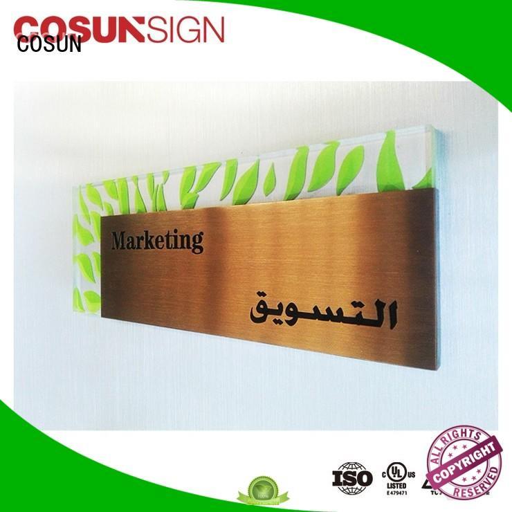 COSUN filled meeting room door sign laser cutting for door