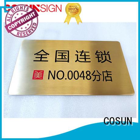 custom metal door signs polishing for shop COSUN