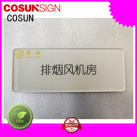 COSUN Wholesale engraved brass door signs Suppliers for warning