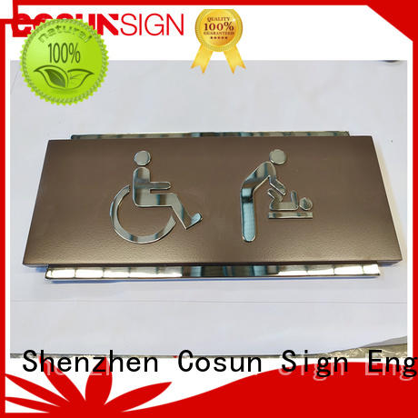 stainless steel hotel room number safety sign for toilet signage COSUN