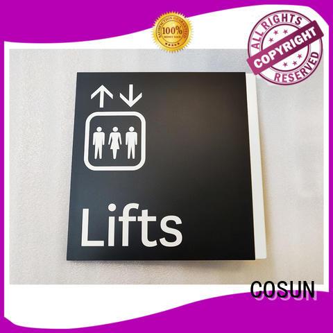 logo custom bathroom door sign etched for hotel COSUN