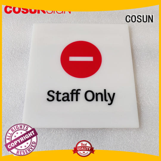 COSUN led acrylic door signs laser cutting for toilet signage