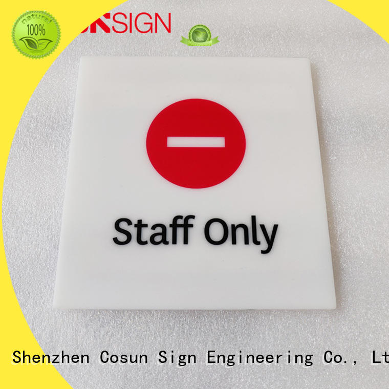 COSUN polishing office name plates for glass doors for business house decoration