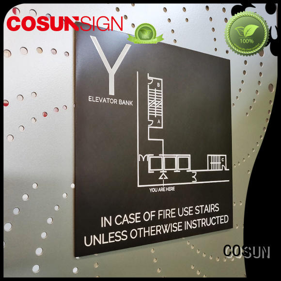 stainless steel custom office door sign for shop COSUN