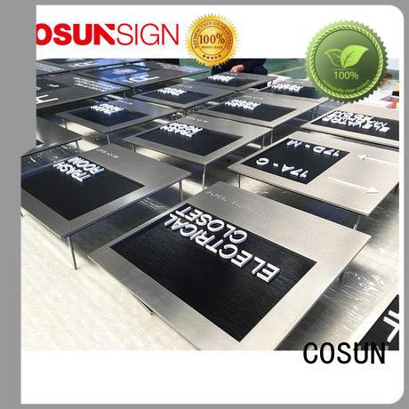 cnc aluminum hotel door signs stainless steel for door COSUN
